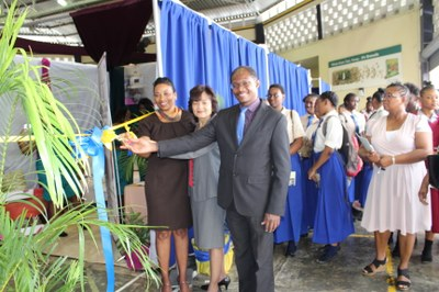 "Mrs.  Gaunette Sinclair Maragh Ph.D (1st left) launching the School of Hospitality and Tourism Management Day 2018 with the help of Professor Collin Gyles, Vice President UTech, Ja. and Guest speaker, Ms. Khamile Needham, representative of the Jamaica Hotel & Tourist Association (JHTA) at the Alfred Sangster Auditorium on Thursday, March 22, 2018 under the theme ""Encouraging regional integration for development in the hospitality and tourism industry""."
