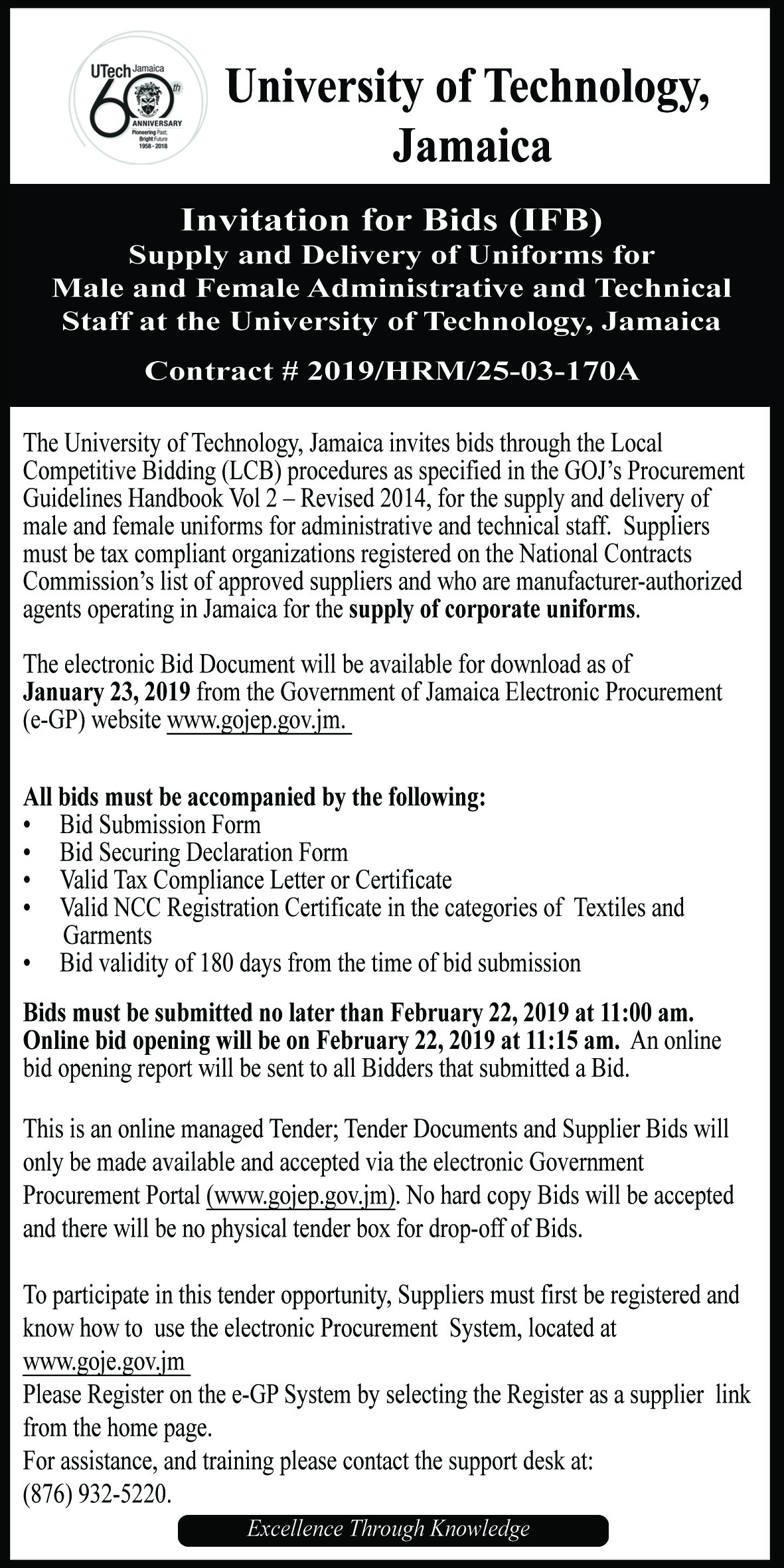 Invitaton For Bids -  Supply and Delivery of Uniforms