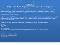 ADVISORY: Delays with NCB Payments - Tuition & Boarding Fees