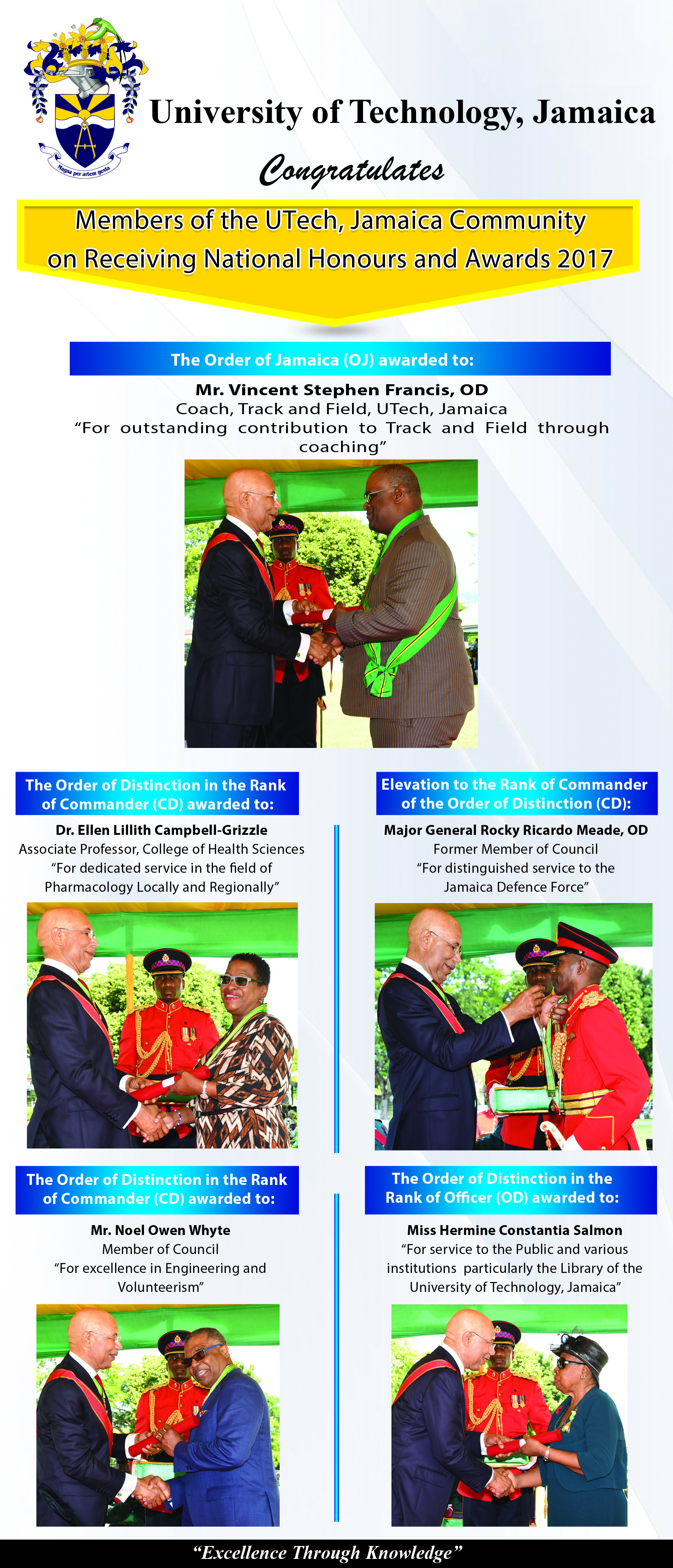 Members of the UTech, Ja. Community Receive National Honours and Awards