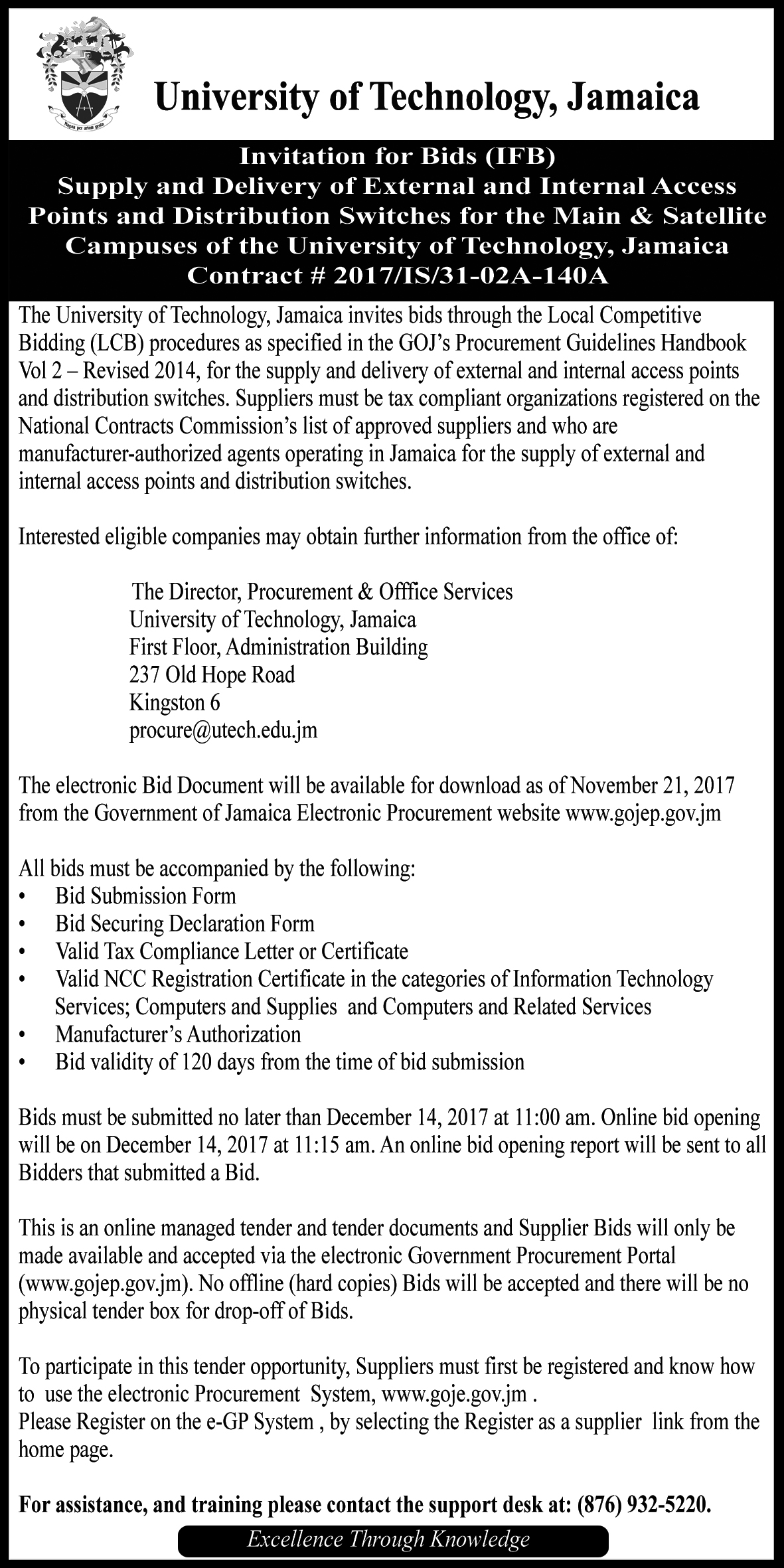 invitation to bid external and internal access points utech ja